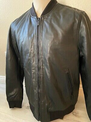 Superdry Premium Soft Leather Bomber Jacket 2XL Black $239. NWT See Pics!