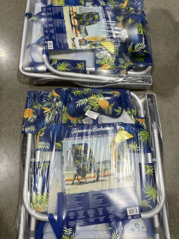 2 PACK Tommy Bahama Backpack Beach Folding Deck Chair Pineapple NWT