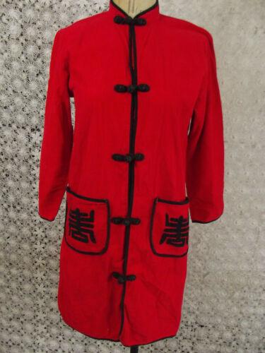 Vintage 70s Asian Jacket Tunic Shirt Red Corduroy Cheongsam Frog Closures Small