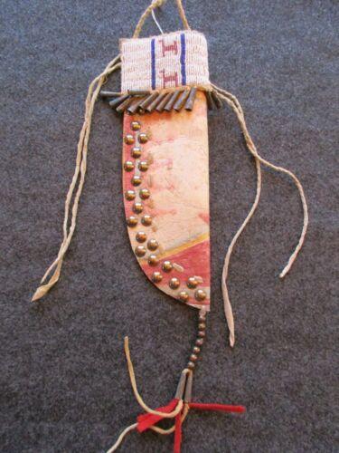 BEADED KNIFE SHEATH, PARFLECHE SHEATH  NATIVE AMERICAN INDIAN  ITEM DU-01234