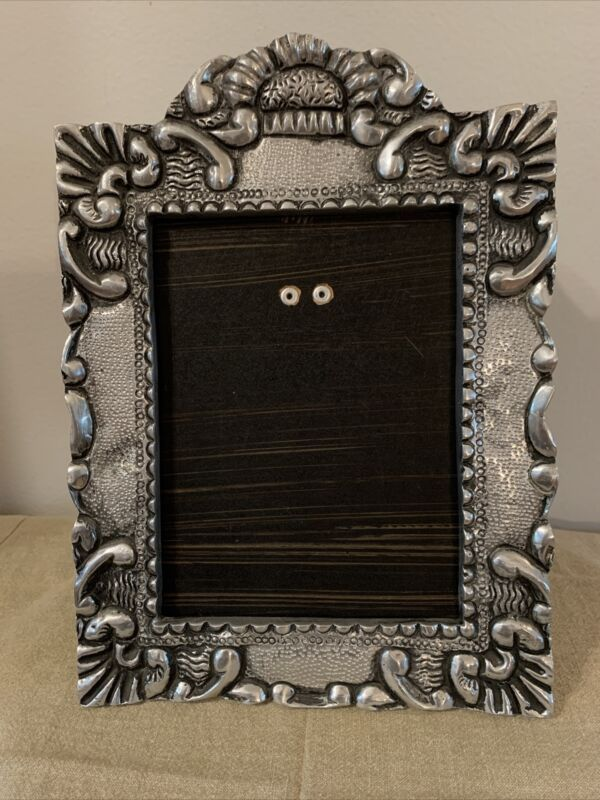 """Vintage Ornate Silver Pewter Picture Photo Frame 11.5"""" X8.5"""" Heavy No Glass Rare"""