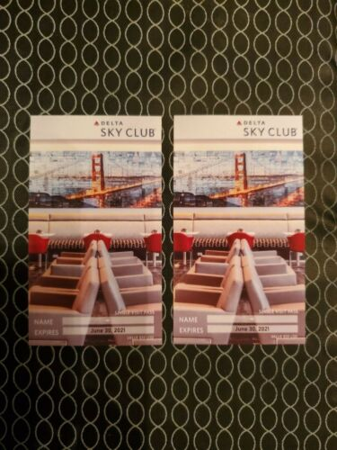 2x Delta Sky Club Single Visit Passes that expire on 6-30-21