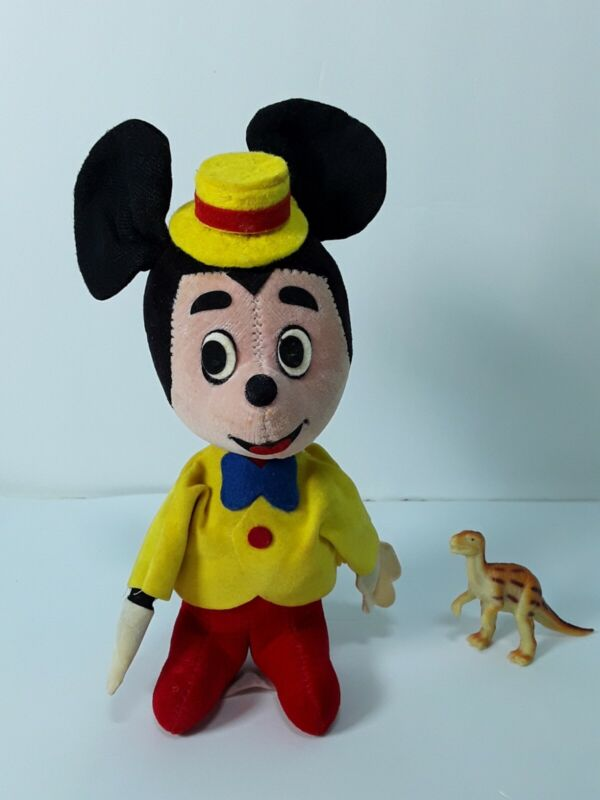 Vintage Walt Disney Prod Mickey Mouse Figure Wood By Product Made in Japan