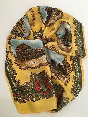 Vintage Scarf Styles -1920s to 1960s VINTAGE ROME Landmarks Long Gold Silk Scarf Made In Italy  $19.95 AT vintagedancer.com