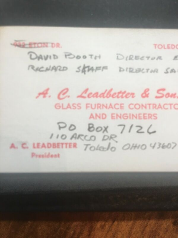 GLASS Furnace Co. Toledo OHIO Vtg Business Card AC LEADBETTER