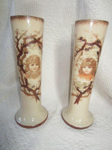 "Pair Antique Victorian Vases with Children Glass 12 1/2"""