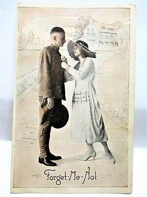 WWI YMCA POSTCARD FORGET-ME-NOT, WOMAN WITH SOLDIER