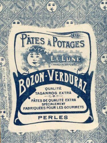 Antique Pasta Bag Paris France Factory Printed Linen La Lune PARIS textile old