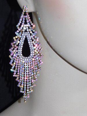 Iridescent Crystal - Gold AB Iridescent Rhinestone Crystal Bridal Chandelier Earrings