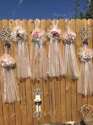 Wedding Pew Bows (6 TULLE FLOWERS Pew BOWS BlUsh PINK & IVORY WEDDING BRIDE LONG)