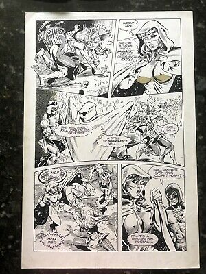 Femforce Issue 23 Page 19 Inked Original Art 1989 AC Comics Rad Nightveil SheCat