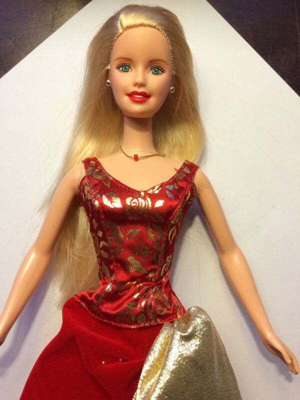 Blonde Barbie In Red And Gold Gown