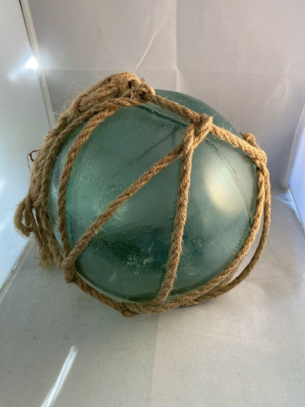 """Large 30"""" Circumference Japanese Blue Green Glass Fishing Float Buoy Marked Rope"""