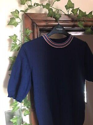 Vintage Pop Boutique Navy Blue Stripe Mod Knit Jumper Size 10 12 60s