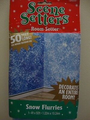 4' Tall x 50' Long ~ Scene Setters Snow Flurries~Backdrop~Party Decoration~NEW - Snow Scene Setter