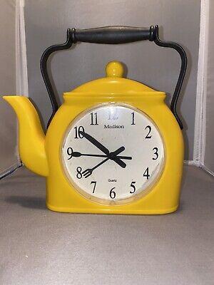 Vintage Yellow Tea Pot Wall Clock Madison kitchen Knife Spoon Fork Hands Quartz