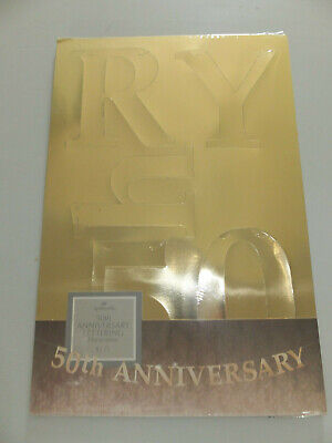 Anniversary Banner - NIP HALLMARK HAPPY 50TH ANNIVERSARY PARTY BANNER LETTERING DECORAT & STRING GOLD