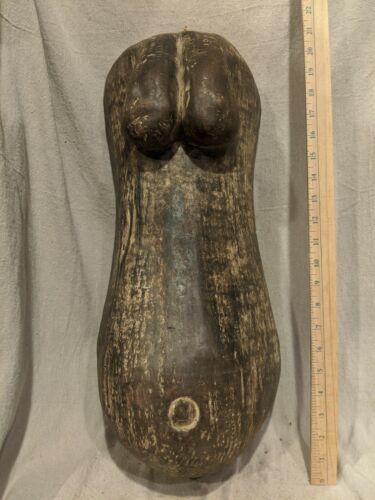 Large Fertility Sculpture of Breasts & Belly — Authentic Carved African Wood Art