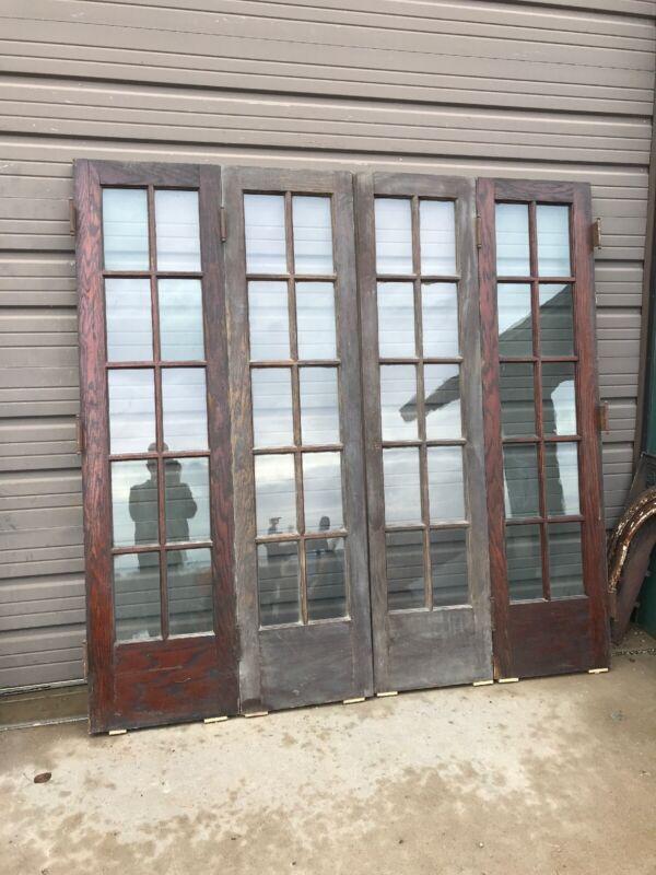"""An 494 Antique Flat Glass Oak Bifold Doors 81 X 80 High X 1 3/4"""""""