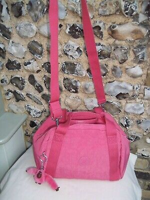 Kipling shoulder or handbag pink with detachable strap 'Corine' monkey