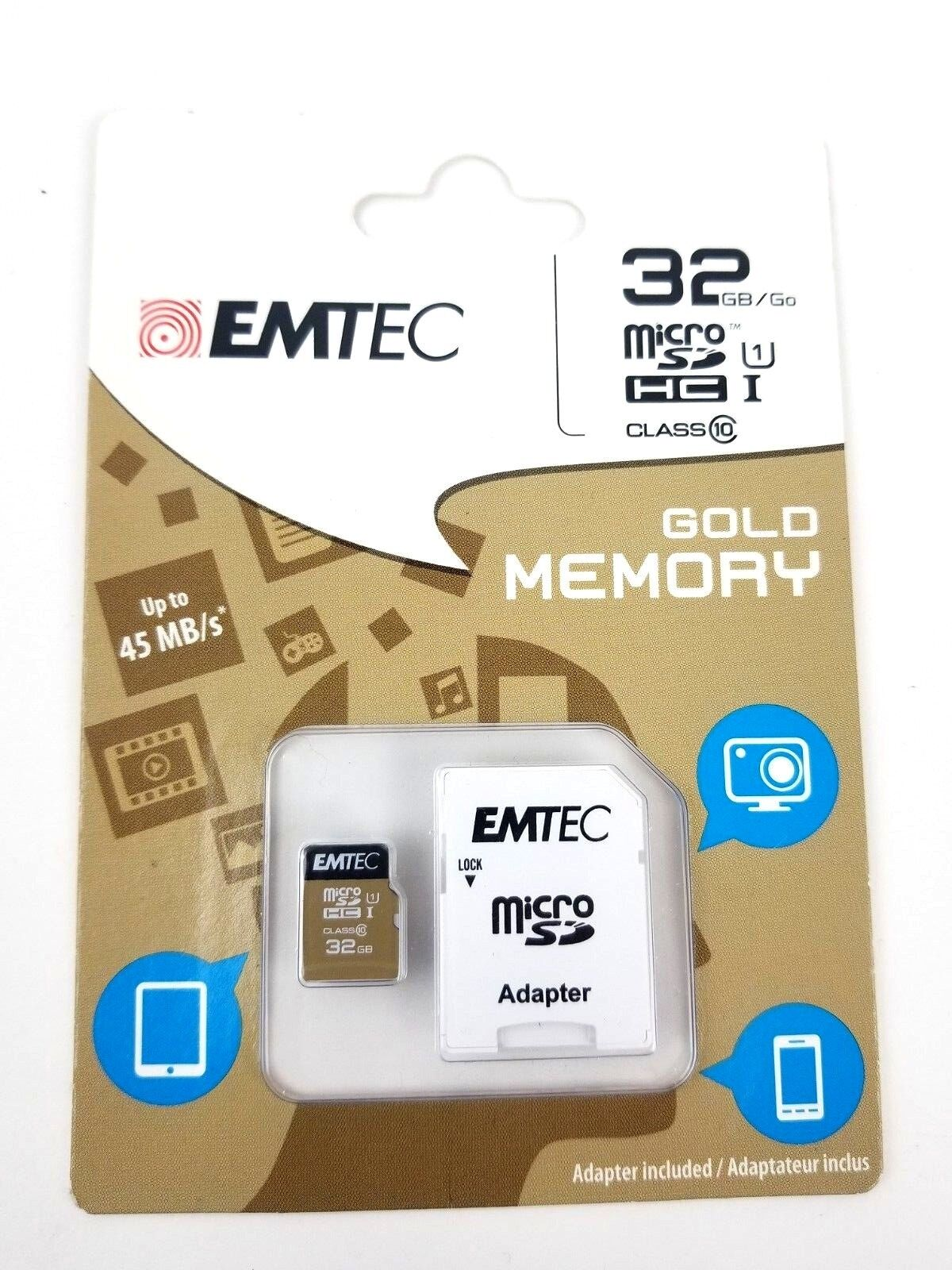 EMTEC 32GB micro SD WITH ADAPTER BRAND NEW Factory Sealed