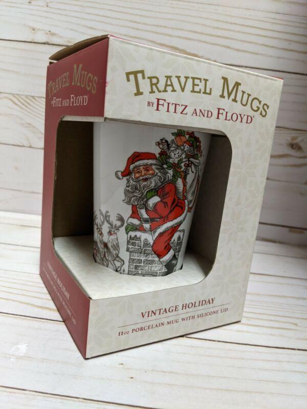 Fitz & Floyd Vintage Holiday Santa Christmas Travel Mug New