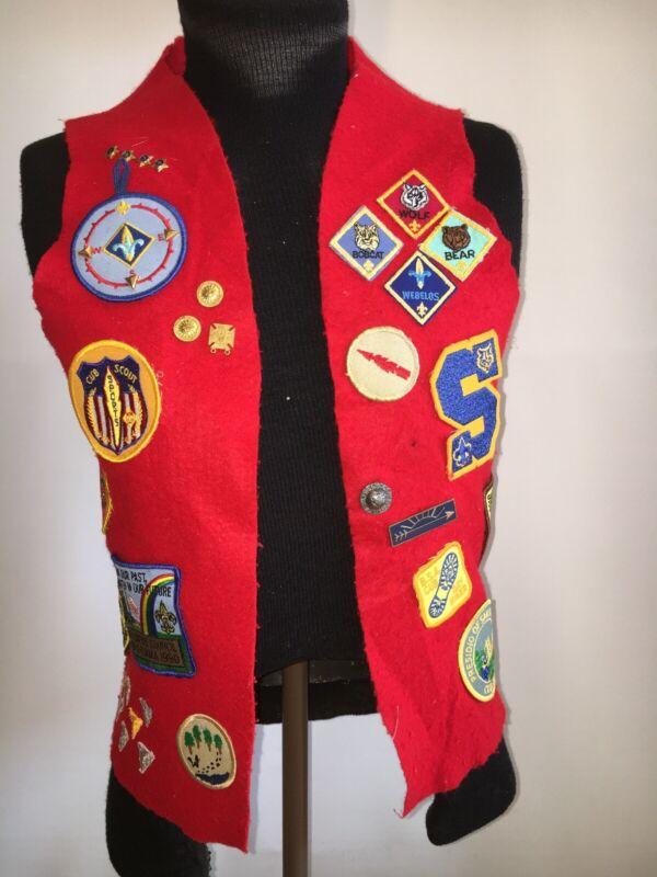 Vintage BSA Boy Scouts of America Felt Vest W/Patches & Pins 90s 1 Of Kind 1212