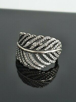 Pandora Light As A Feather Shimmering CZ Leaf Ring 190886 Siz 48 Small Free Post