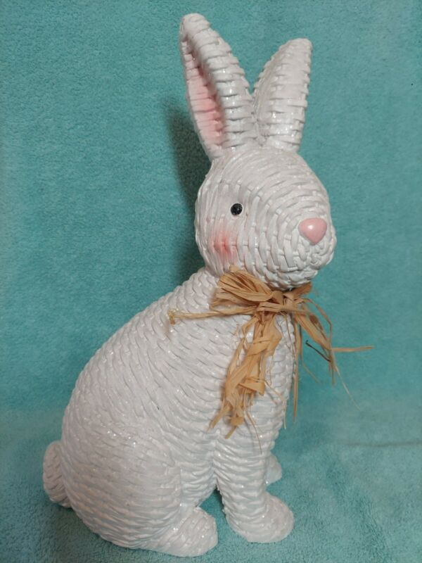 """White Wicker Pink Nose and Ears Easter Bunny Figurine 16"""" Tall Resin"""