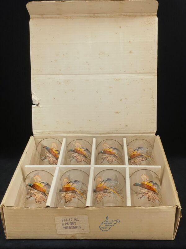 Beautiful Set of 8 Vintage West Virginia Glass 12oz Hi-Ball Glasses - Pheasants