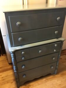 Blue tall dresser - available