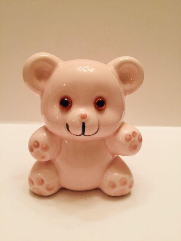 Vintage Enesco Pink Teddy Bear Bank