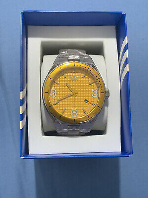 Adidas Original ADH2510 Orange Dial And Clear Bracelet Watch NEW WITH BOX