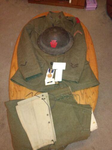 28th Division Tunic/Pants/Painted Helmet/Medal ~ Nice Honest Group - Original
