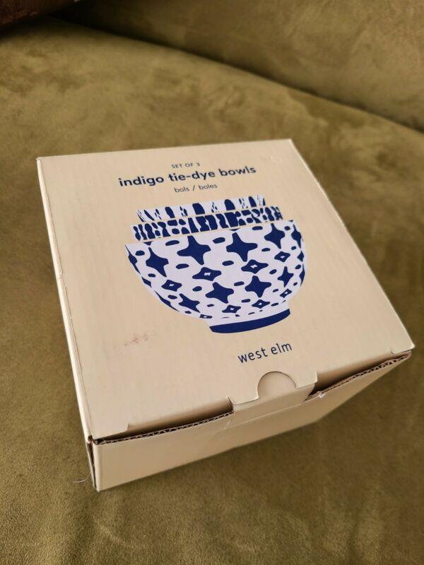 New Opened Box West Elm Indigo Tie Dye Bowls Stoneware Set of 3