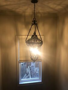 Shabby chic large chandelier great room