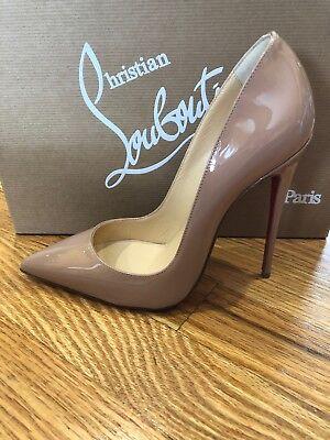 NIB Christian Louboutin SO KATE 120 High Heel Nude PATENT Pumps Shoes 37 7 New