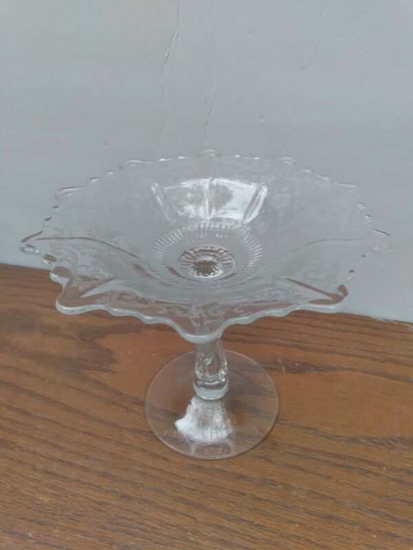 Cambridge Chantilly Etched Tall Compote
