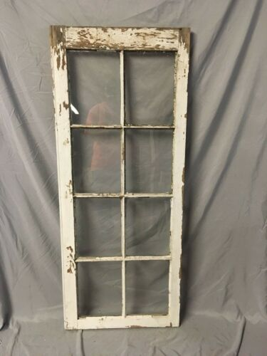 Antique 8 Lite Casement Door Window Cabinet Shabby Vtg Old 22x54   25-18C