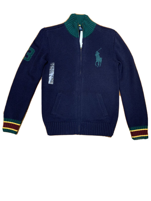 New kids boys Ralph Lauren Big Pony Full Zip Sweater  size L(14-16)