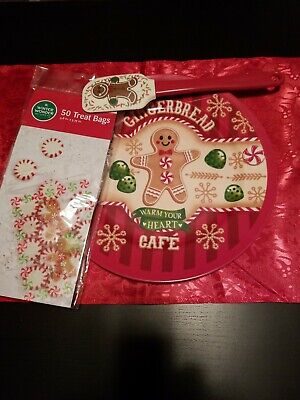 Cookie Tray Bags (Decorative Christmas Holiday Cookie Serving Tray, 50 Treat Bags & Spatula. )