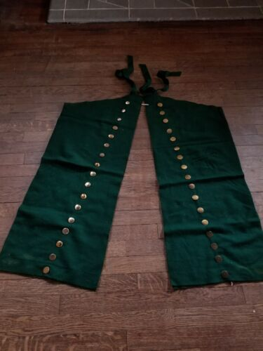Antique trade cloth used for Native American dance leggings, forest green