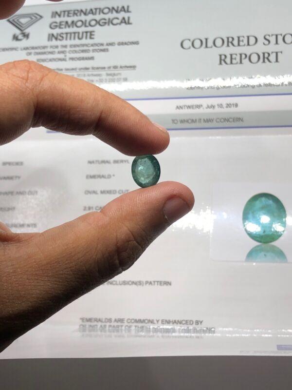 IGI Certified Natural Green Zambia Emerald 2.91 Ct Size 11.22*9.19*4.70 Mm #7827