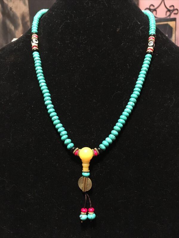 Tibetan Turquoise Buddhist Prayer Beads 108 Mala Ships From The US