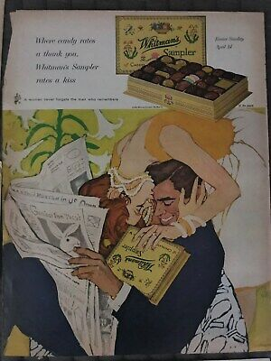 Whitmans~Sample~Chocolate~Woman~Kissing~Man~Easter~1963 Vintage Print AD A23