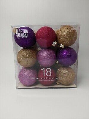 Martha Stewart 18 Pc Shatterproof Christmas Ornaments Multicolor Glitter 2006