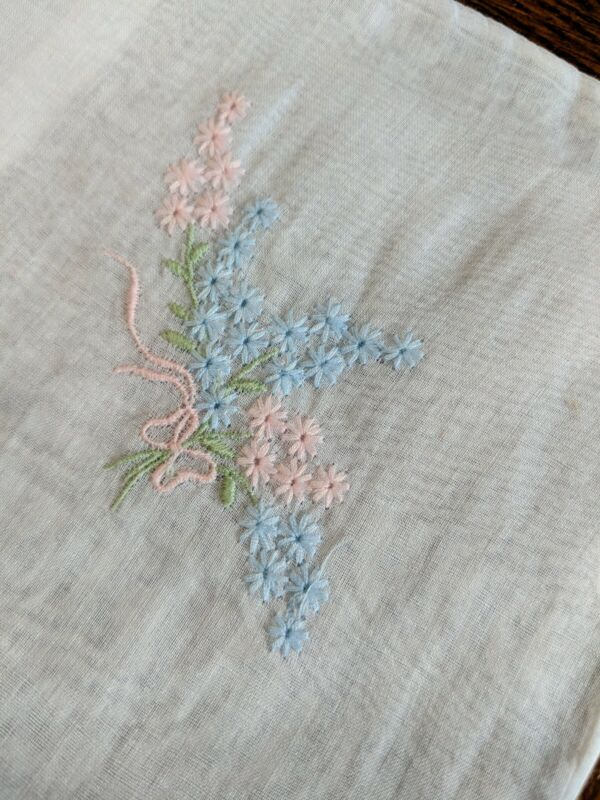 ANTIQUE BABY CRIB EMBROIDERED PILLOWCASE pastel flowers beautiful pink & blue
