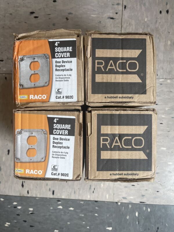 (40) Hubbell Raco 902 1 Duplex Receptacle 4-inch Square Exposed Work Steel Cover