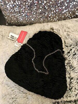 Brand New Black Textured Velvet Vintage Style Bag Johnny Loves Rosie RRP £35
