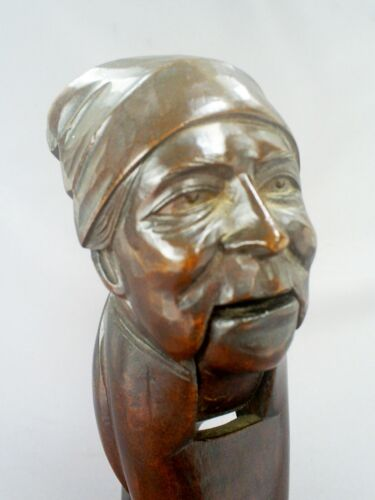 ANTIQUE BLACK FOREST TREEN/HANDCARVED WOOD FIGURAL MAN WITH HEADSCARF NUTCRACKER